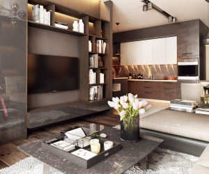 The first apartment creates a classic look with only the most modern materials and furnishings, a difficult feat to accomplish but executed perfectly here. An interesting layout allows the living spaces to feel cozy and intimate despite the scale of the space, and made even cozier by the addition of warm wood tones to the mostly gray and white color theme.