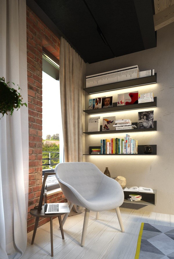 Smooth lighted shelving, a nice window view, and a comfortable armchair are the only ingredients needed for a cozy reading nook.