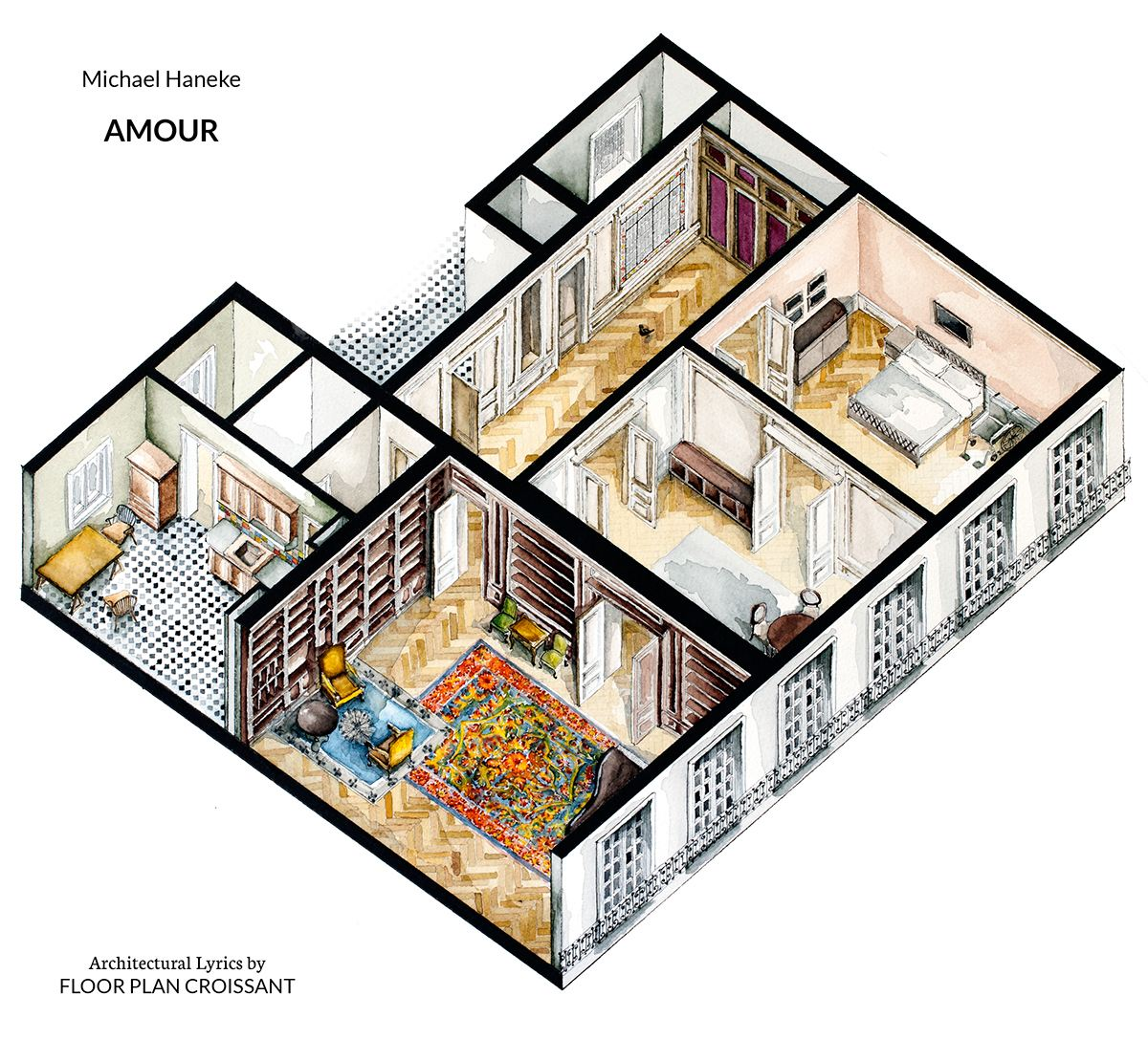 Floor Plans From Movies - Watercolor floorplans from recent television shows and films