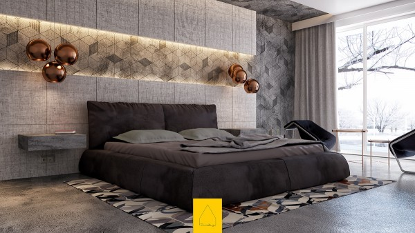 Seeing the snowy branches outside really emphasizes how warm and inviting this bedroom turned out to be, especially considering the cold reputation of concrete.
