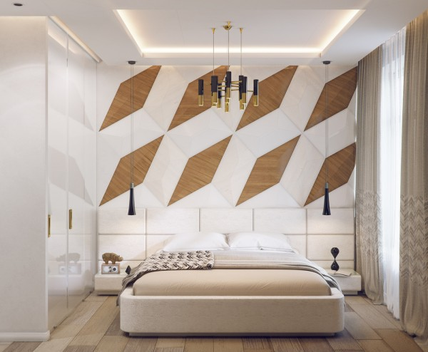 This bedroom features a big bold accent wall composed of an oversized mosaic of wooden rhombuses arranged in a gorgeous pattern. The wood used here has a very fine and distinct grain and heightens the luxury of the panels. Plush rectangles make up the headboard for an added layer of visual interest.