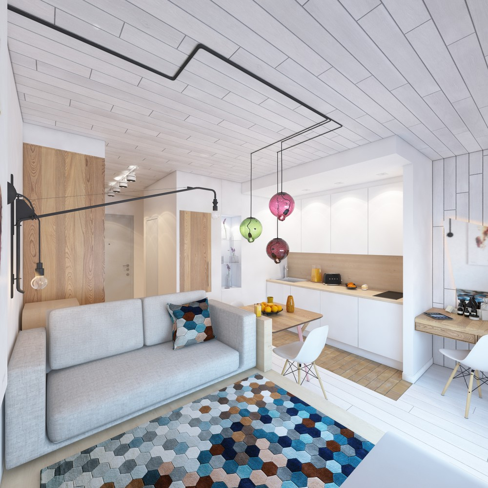 Geometric Decor In Small Apartment - 6 beautiful home designs under 30 square meters with floor plans