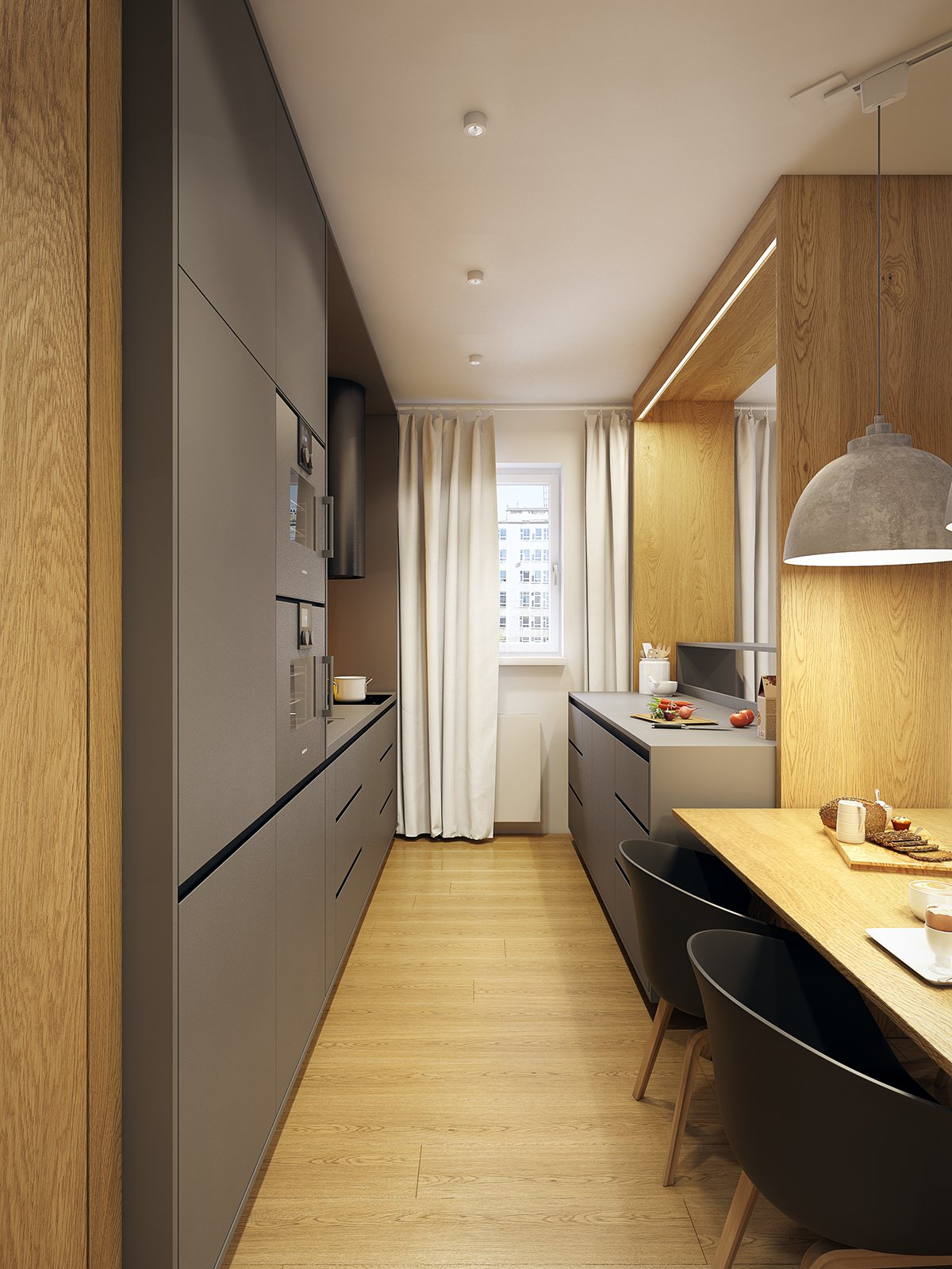 Gray And Wood Kitchen - A modern scandinavian inspired apartment with ingenius features