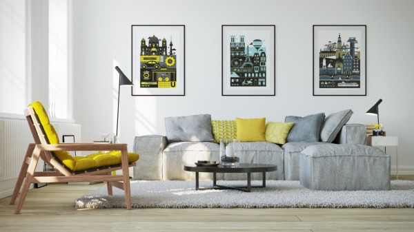 In the foreground, the IPANEMA armchair by Jean-Marie Massaud takes on a daring shade of bright lemon yellow, while a trio of varied pillows adds character to the grayscale sofa in the background.