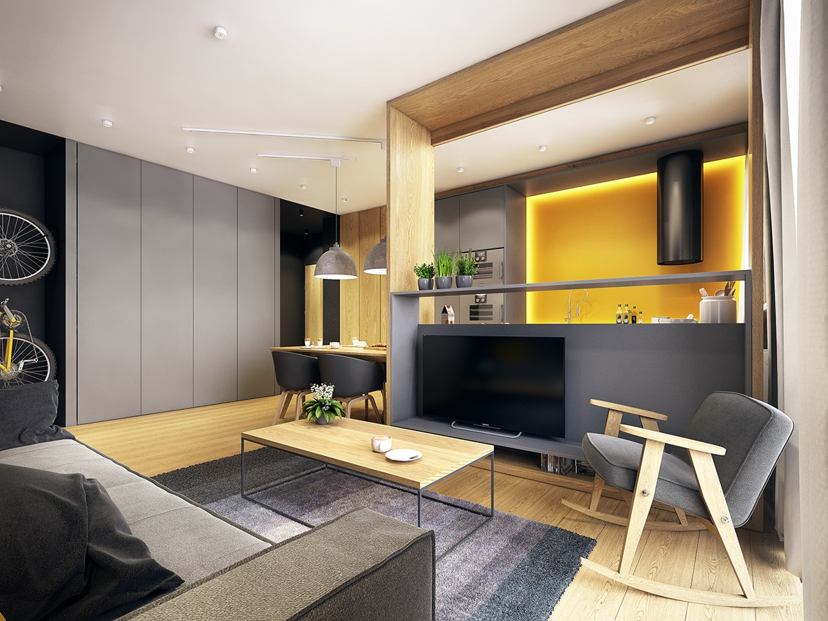 Gray And Yellow Scandinavian Apartment - A modern scandinavian inspired apartment with ingenius features