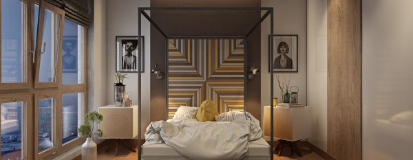 Geometry is the language of expression in this attractive bedroom. The centered headboard is especially interesting - a variety of painted and unpainted boards come together at matched and unmatched points. Even cooler is the cubic bed frame that continues the diagonal lines of the headboard.