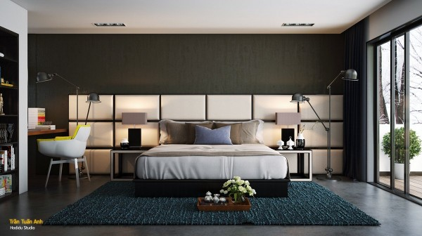 Don't you just want to reach out and touch the smooth plush-looking panels behind the bed? This type of accent wall doesn't require expensive materials, and as you can see from this excellent bedroom, an oversized like this one can add a tremendous amount of character to an otherwise simple space.