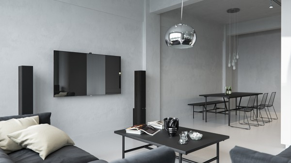 The living room and dining areas are pared down to their most basic components. The dinner table and chairs are very low-profile and look quite lightweight, so nothing can obstruct the limited natural lighting.