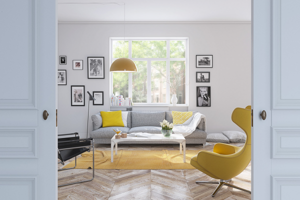 Do you have a piece of furniture you never use because it's hard to match the color? Here, the bright Grand Repos Chair by Antonio Citterio blends smoothly into an interior of varied yellows ranging from subdued dandelion to bright lemon. Variety can make all the difference.