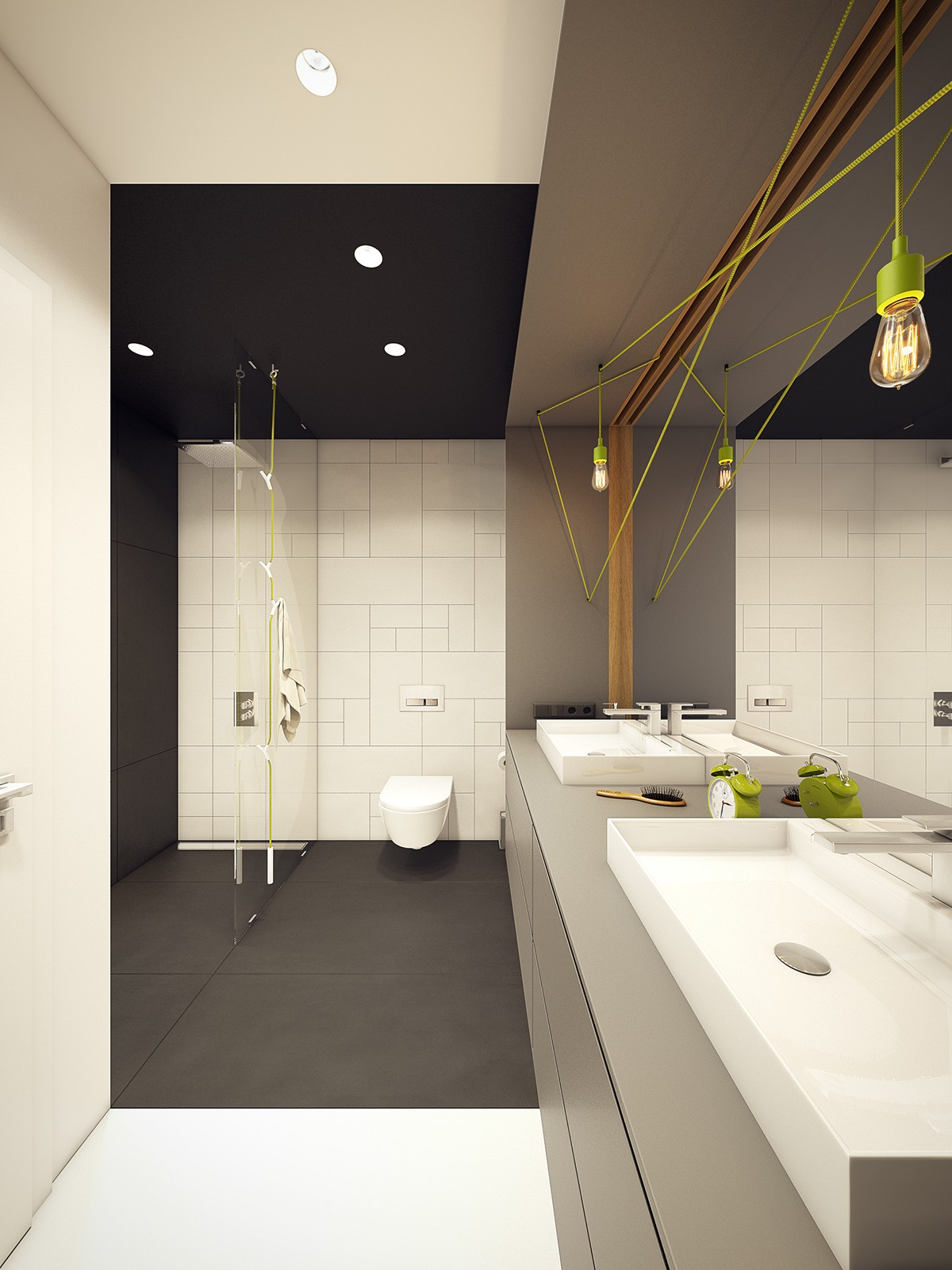 Lime Green And Black Bathroom Ideas - A modern scandinavian inspired apartment with ingenius features
