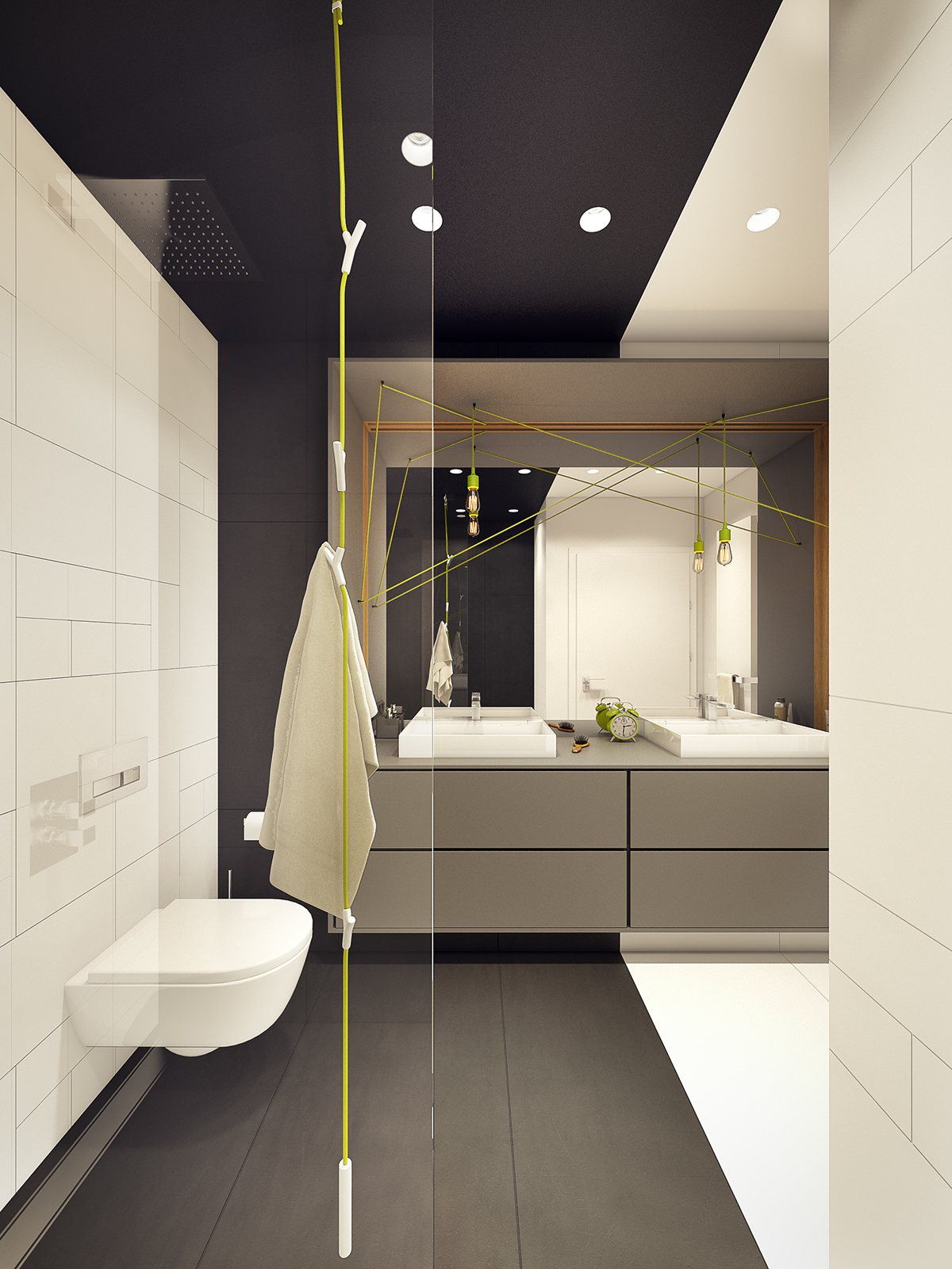 Lime Green And Gray Bathroom - A modern scandinavian inspired apartment with ingenius features