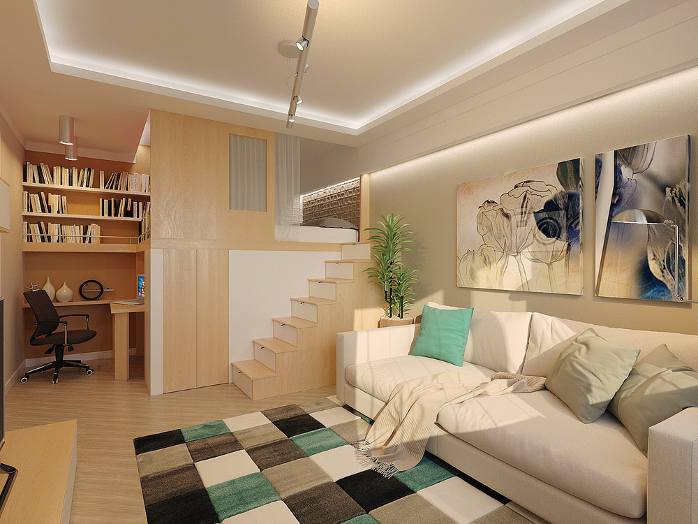 Loft Bed For Tiny Apartment - 6 beautiful home designs under 30 square meters with floor plans