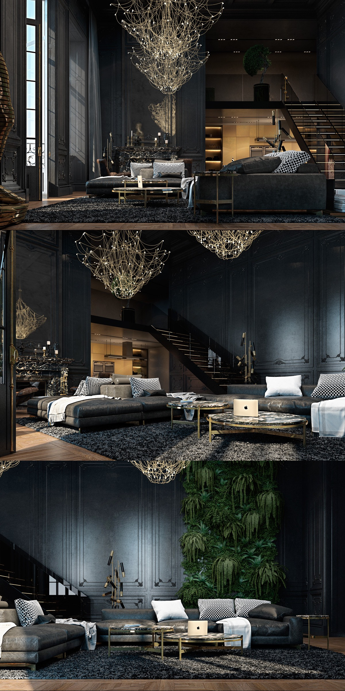 Black living rooms ideas inspiration for Image of interior design