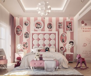 White and cotton candy pink make this expertly-coordinated room extra sweet. Toy Story prints make a big impression covering the far wall, each with a unique frame for playful variety. Circles, squares, hearts, and flowers contribute to the lively atmosphere. This charming design is the work of Amir Sayed Mohamed Refaat, a designer working from Cairo.
