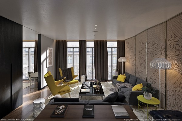 Within such a dark and elegant living room, the strong yellow accents feel rebellious and full of attitude. Every classically-inspired element enjoys a sharp modern reinterpretation. And the result? Gorgeous!