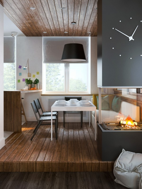 matching wood floor and ceiling