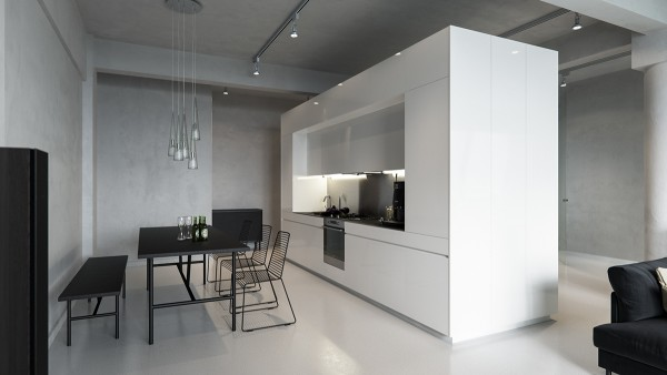 Designed by Sergey Baskakov, this minimalistic black and white space features mid-tone concrete walls with glossy concrete floors to match. Pillars, beams, and ceiling are all cohesive and uniform, punctuated by a large glossy kitchen unit in the center of the room.