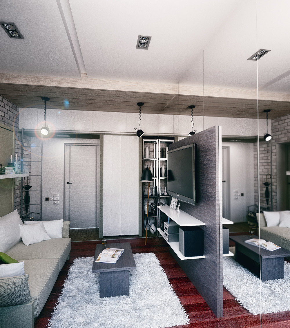Mirrored Wall Entertainment Center - 6 beautiful home designs under 30 square meters with floor plans