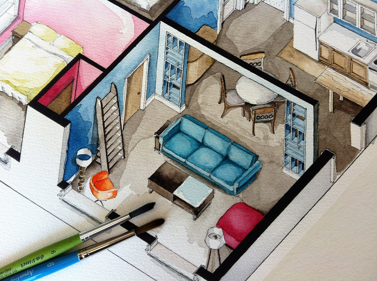 Modern Architectural Art - Watercolor floorplans from recent television shows and films