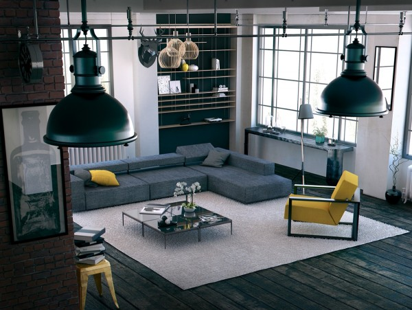 Sleek, modern, industrial… Almost any accent color could work within this interior, but it brings out a whole different character in the yellow accessories. Perhaps it's because the grays lean more toward the blue side for subtle contrast.