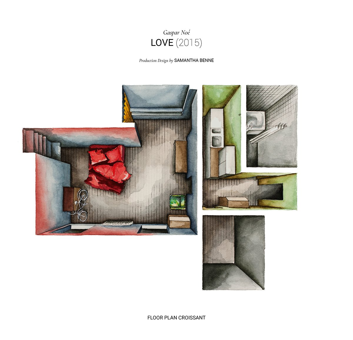 Movie Floor Plans - Watercolor floorplans from recent television shows and films