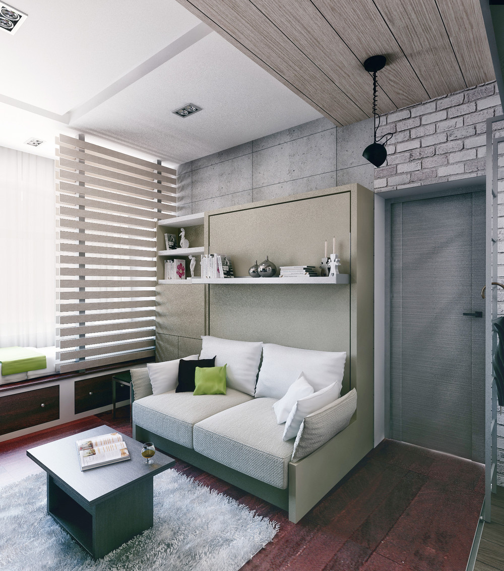 Murphy Bed With Shelf - 6 beautiful home designs under 30 square meters with floor plans
