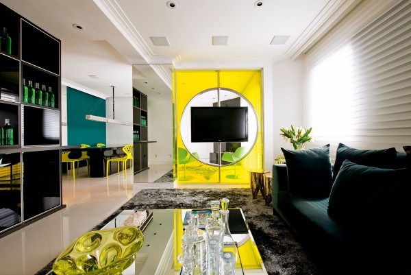 Highly saturated yellow gains an almost neon effect thanks to the liberal use of transparent materials and thoughtful accent colors like green and blue in gem tones.