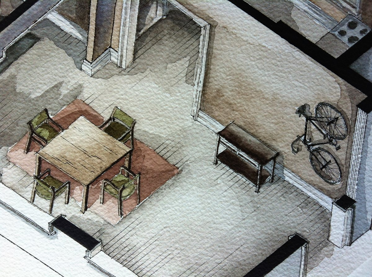 Paintings Of Film Sets - Watercolor floorplans from recent television shows and films