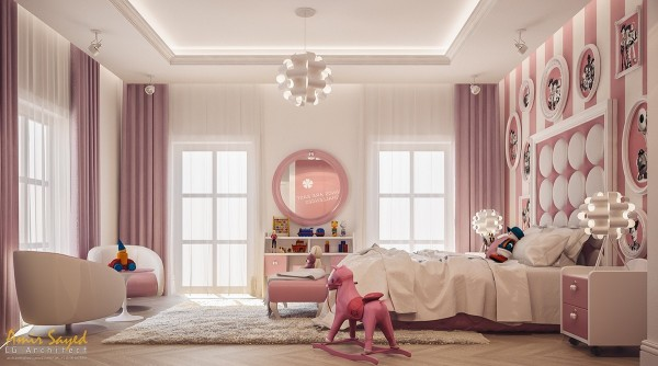The pink rocking horse is adorable and the child size club chairs pair so well with that fabulously unique circle tufted headboard