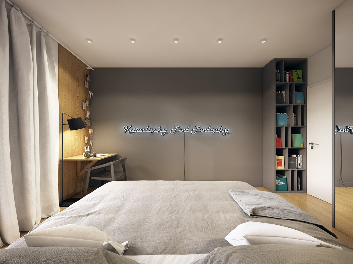Polish Bedroom Design - A modern scandinavian inspired apartment with ingenius features
