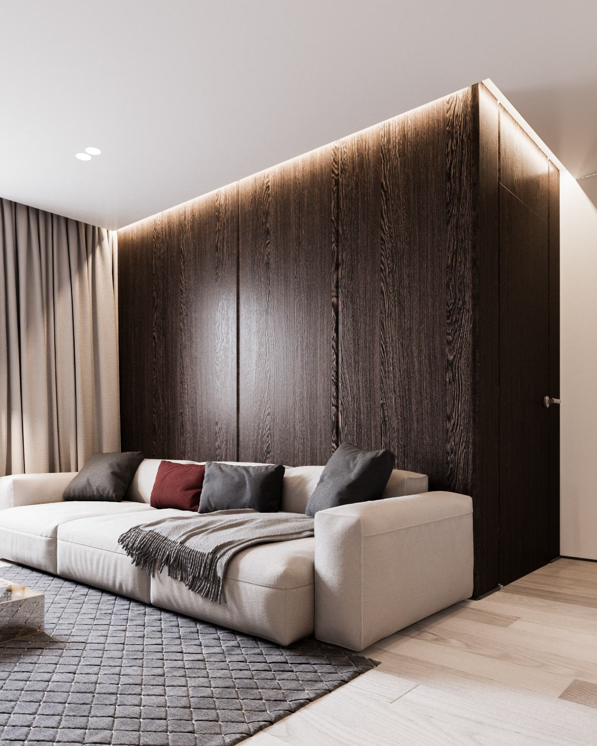 Red And Gray Living Room - A calm and simple family home with neat features