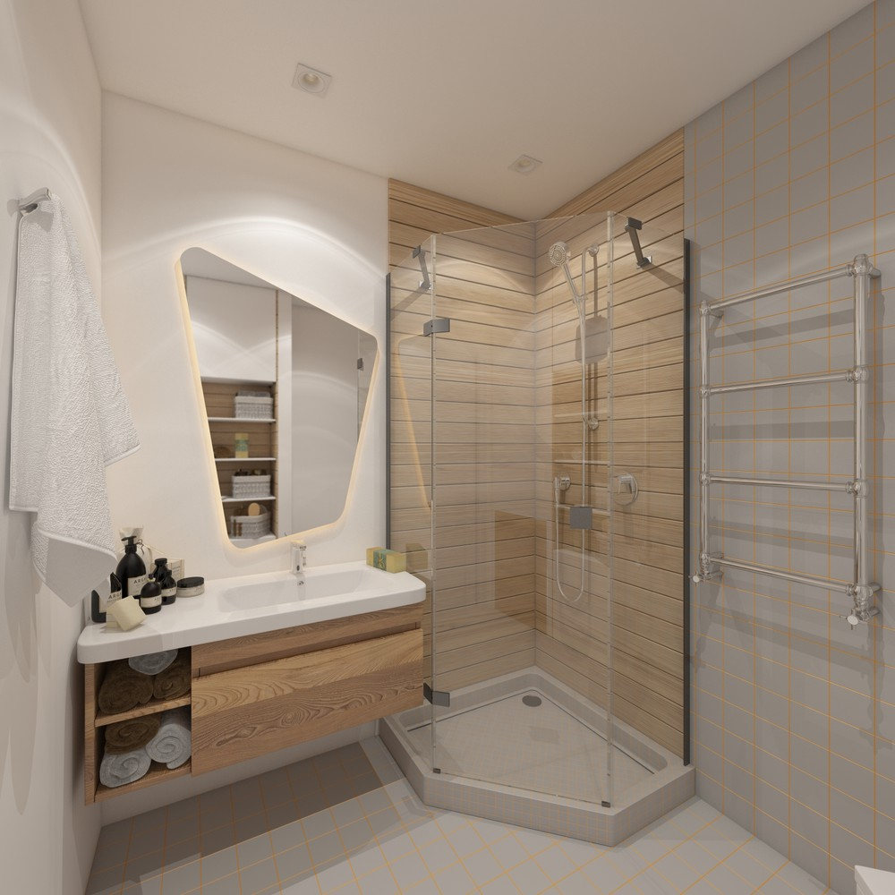Retro Modern Bathroom - 6 beautiful home designs under 30 square meters with floor plans