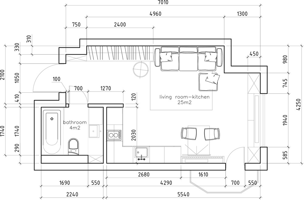 Small Apartment Floor Plan - 6 beautiful home designs under 30 square meters with floor plans