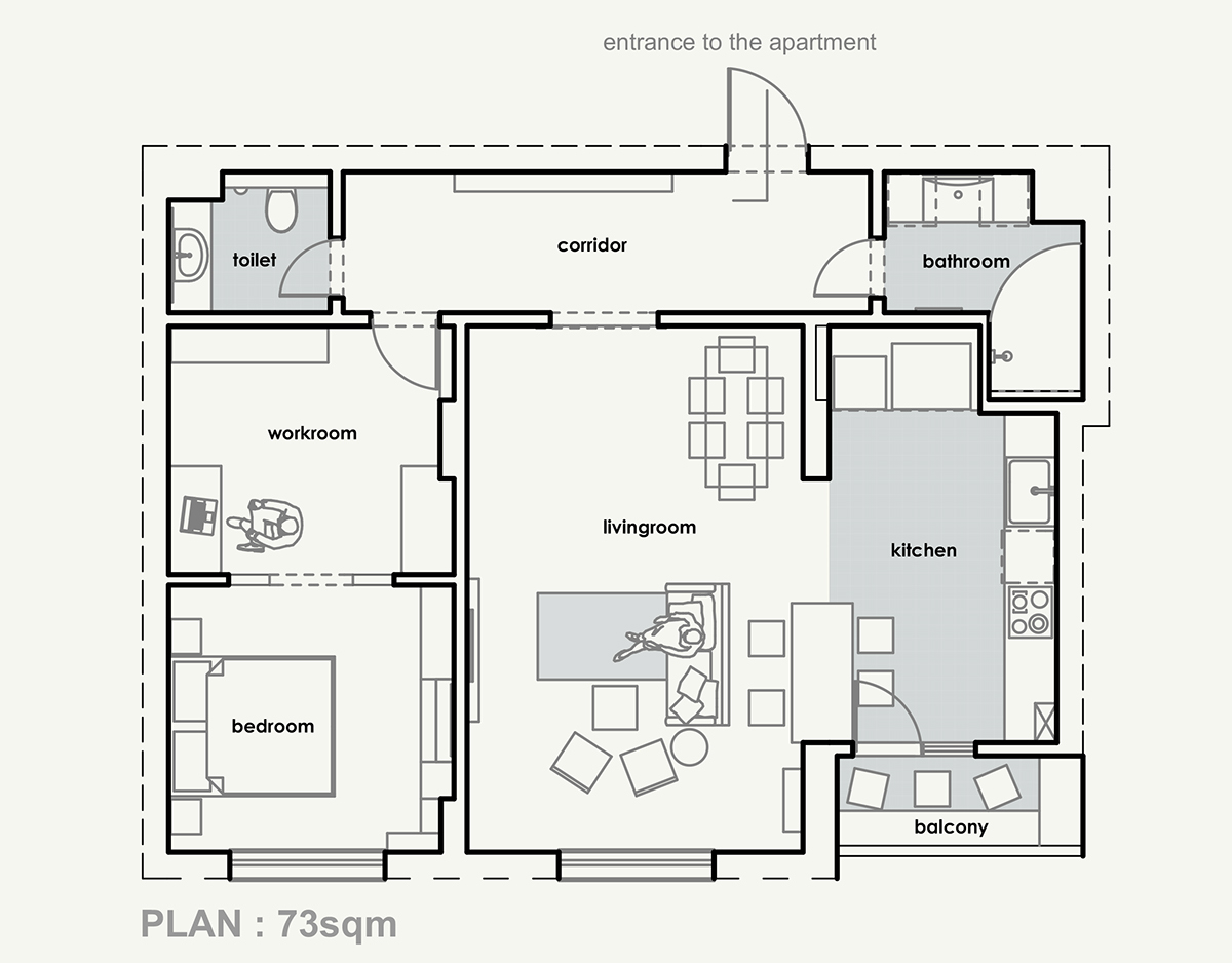 Small Apartment Floorplan Ideas - 3 open layout interiors with yellow as the highlight color
