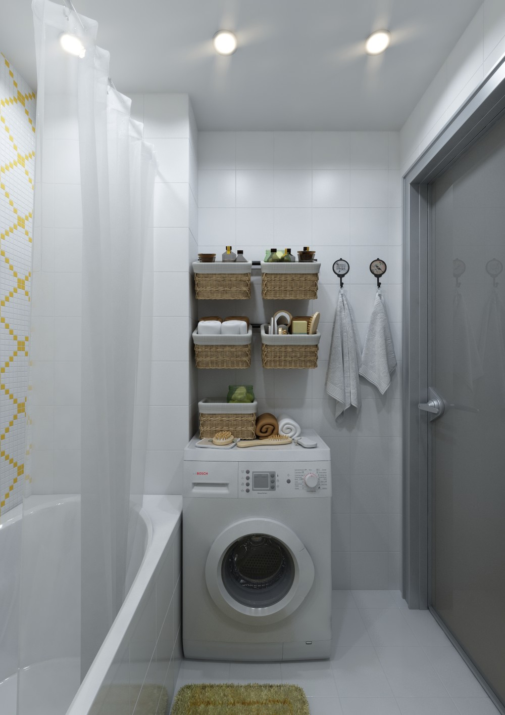 Small Bathroom Storage Inspiration - 4 inspiring home designs under 300 square feet with floor plans