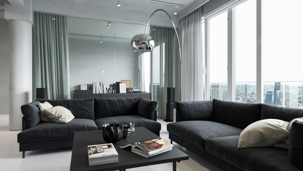 Glass walls offer a peek into the office just behind the sofas. Drawing the curtains provides a little privacy.