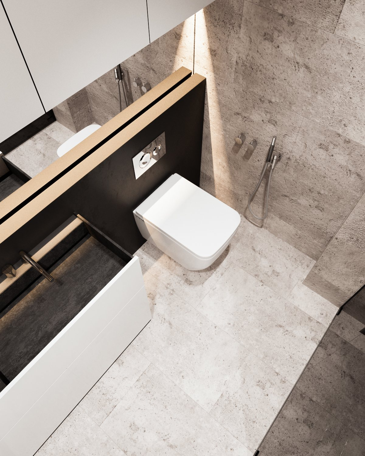 Stone Bathroom Floor And Walls - A calm and simple family home with neat features