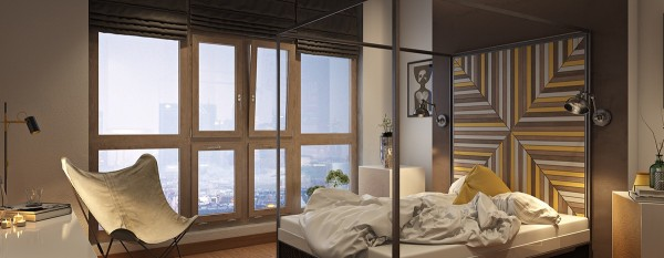 The accent wall is eye-catching yet relatively subdued, leaving plenty of room to appreciate the incredible view.