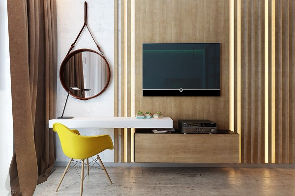 French architect Jacques Adnet popularized this mirror design with the release of his iconic Round Mirror in 1946. The molded armchair from Eames was designed just a few years later, making this a very relevant pairing.