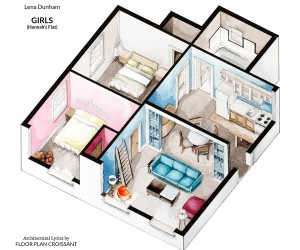 First, artist Boryana Ilieva explores the world of colorful NYC apartments belonging to struggling young artists, illustrators, actors and other creatives. This first apartment highlights Hannah's apartment from Lena Dunham's television series Girls, a colorful space with an open layout.