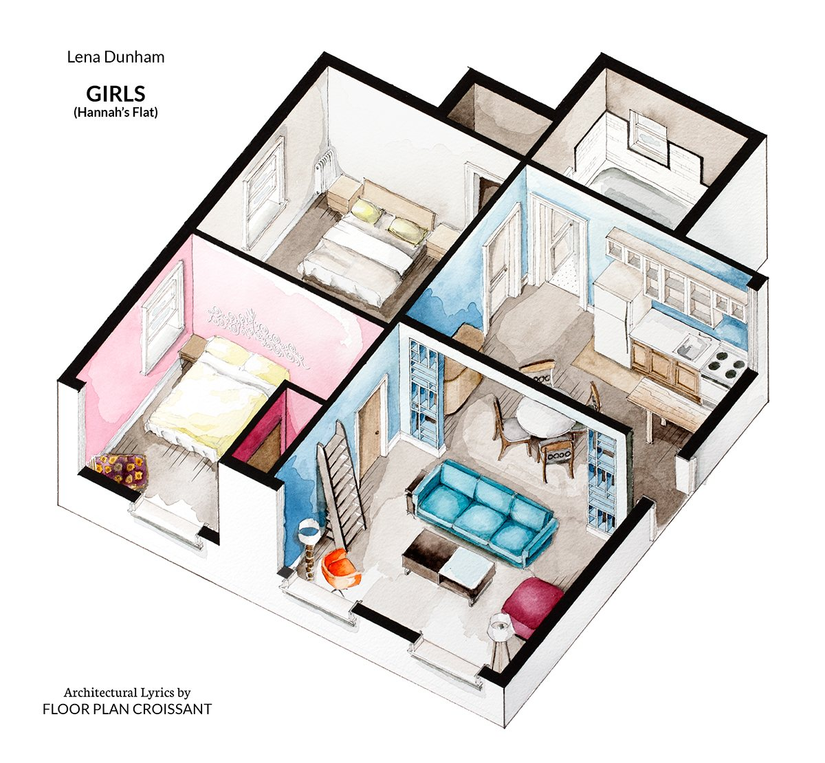 Watercolor floorplans from recent television shows and films for Floor plans of famous houses