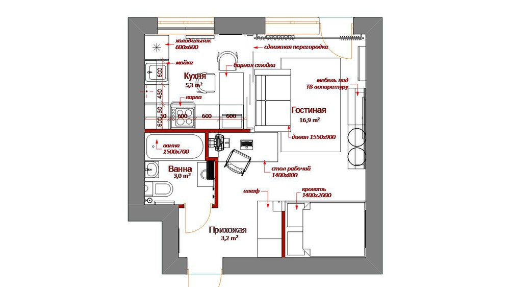Tiny Apartment Floor Plan - 4 inspiring home designs under 300 square feet with floor plans