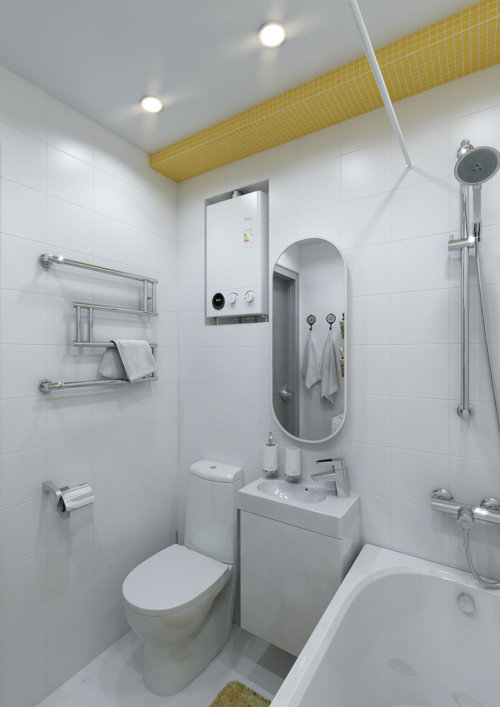 Tiny White Bathroom Ideas - 4 inspiring home designs under 300 square feet with floor plans