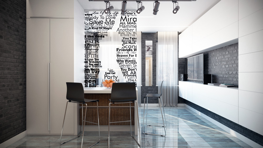 Typographic Apartment Decor - 4 inspiring home designs under 300 square feet with floor plans