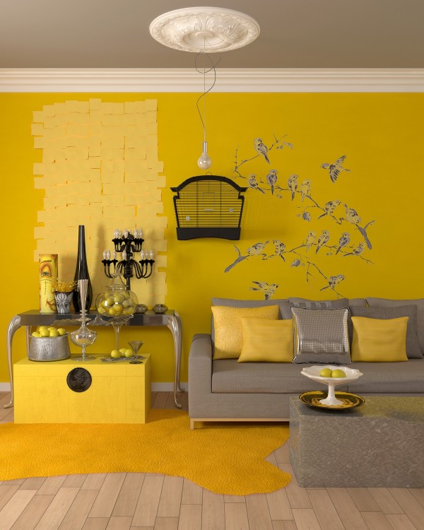 Now this is a very bold use of yellow! Several different yellow tones come together in this fun and quirky design concept, standing out against gray and silver furniture. Note the playful addition of lemons, sticky notes, and little yellow birds.