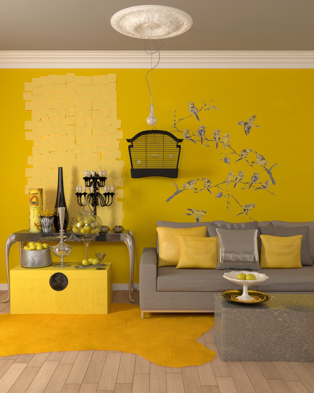 25 gorgeous yellow accent living rooms for Home decor yellow walls