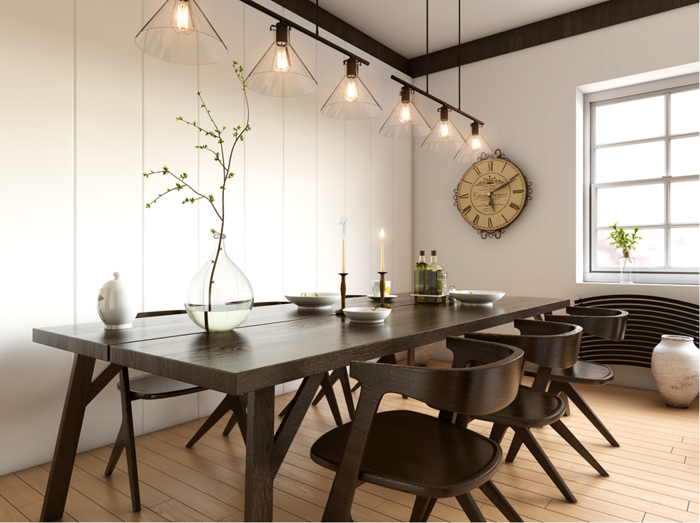 25 inspirational ideas for white and wood dining rooms for Dining room or dinning room