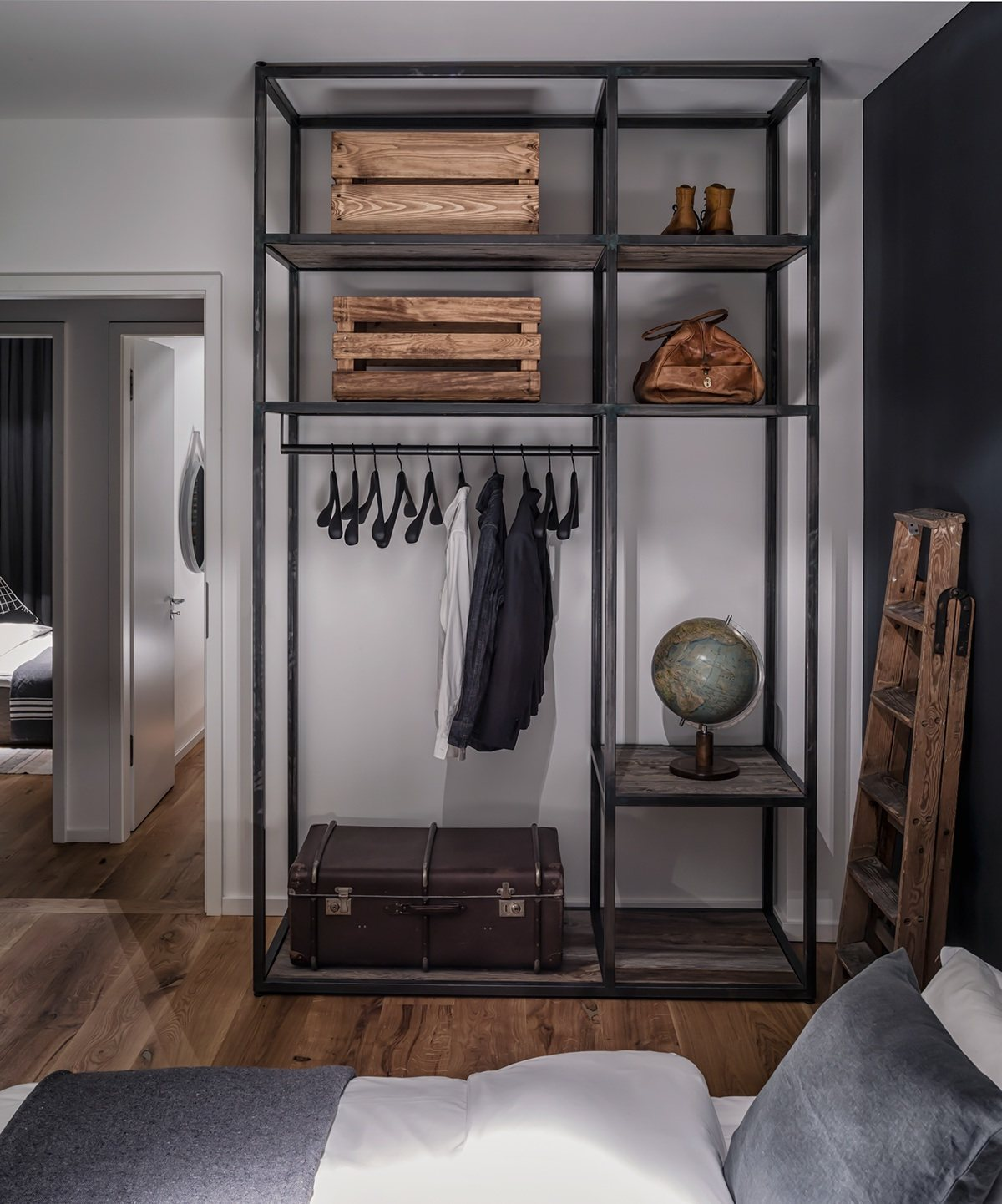 Wood And Leather Wardrobe Design - 4 beautiful dark themed homes
