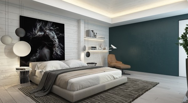 Neutral grays dominate the color palette, but the matte gray on the far wall contains strong hints of dark blueish-green.