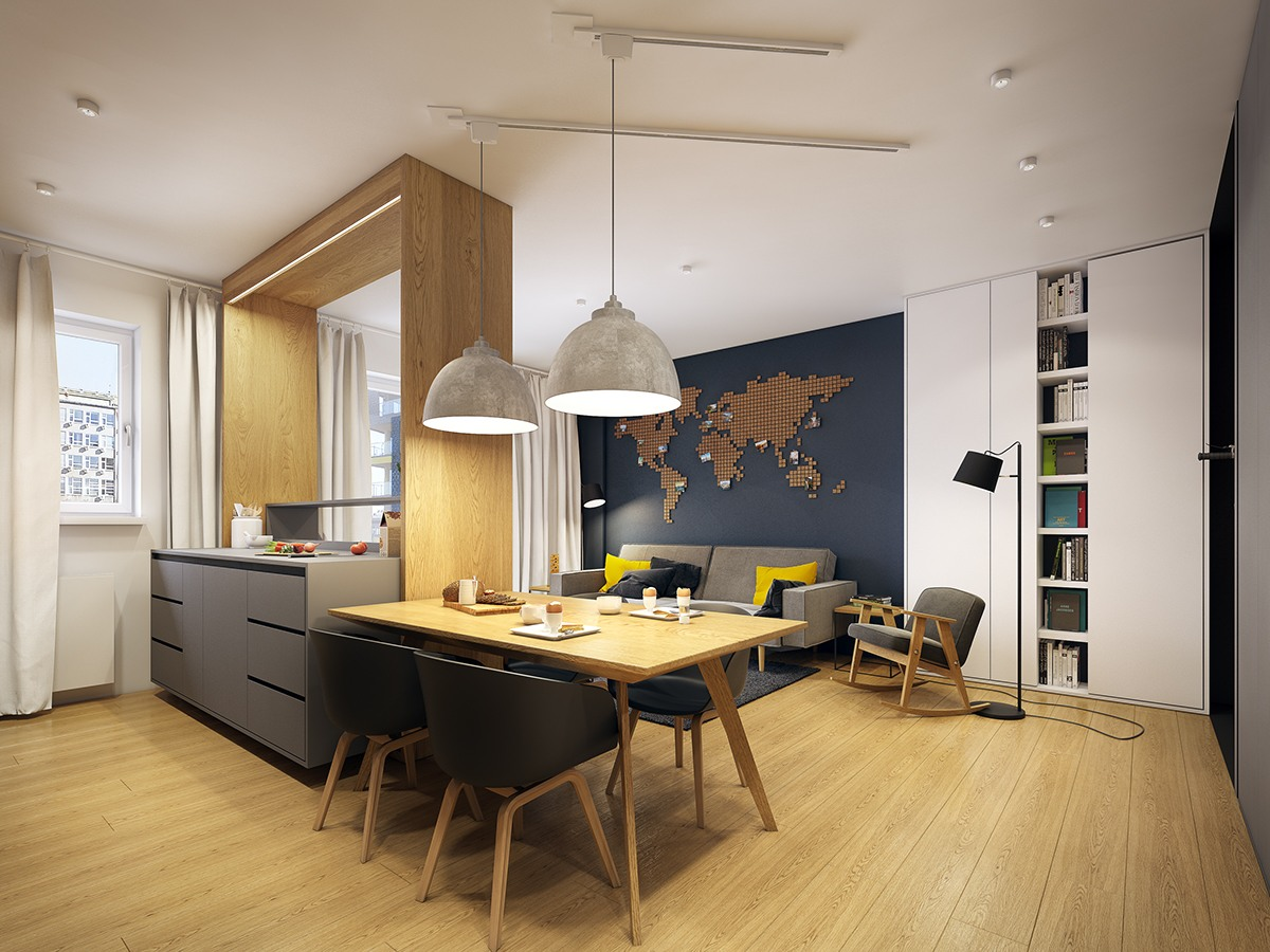 World Map Decor Inspiration - A modern scandinavian inspired apartment with ingenius features